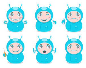 set of six cute robots with different emotions
