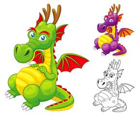 Poster de jardin Chambre d enfant illustration of Dragon vector