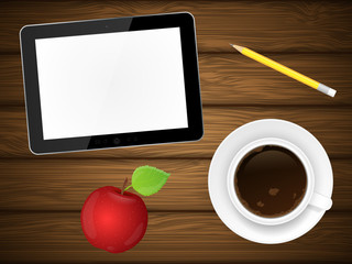 Coffee cup, red apple and tablet pc on wooden background. Vector