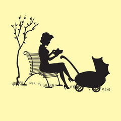 Silhouette of a young mother with a carriage