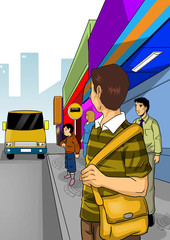 Illustration of people waiting for bus at sidewalk