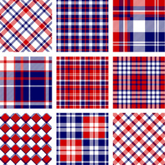 Plaid patterns, american flag colors