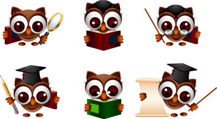various cartoon illustration of a cute owl
