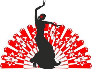 Silhouette of flamenco dancer with a fan