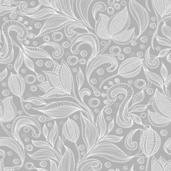 Abstract floral pattern. Seamless pattern with flowers and butte