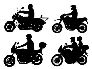 Fototapete - motorcyclists silhouettes set - vector
