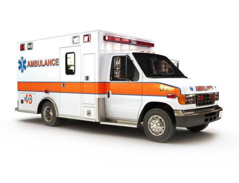 Ambulance on a white background