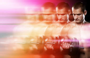 Creatively edited image of young bodybuilder