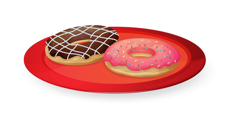 donuts in red dish