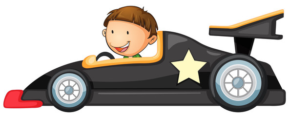Photo sur Aluminium Voitures enfants a boy driving a car
