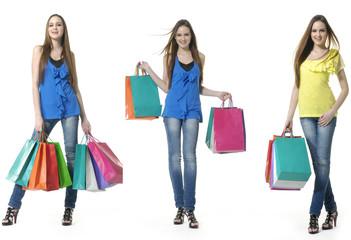shopping girl full body, collage