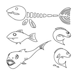 Humorous drawing fish.