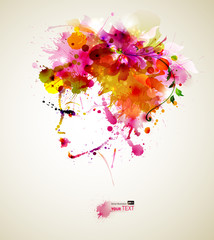 Poster Floral woman Beautiful fashion women with abstract hair and design elements