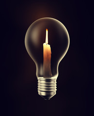 Candle inside a light bulb