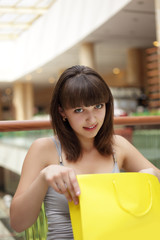 beauty girl with shopping bag
