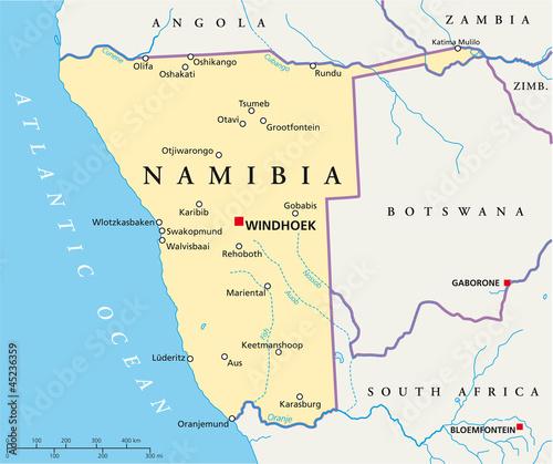 namibia landkarte Namibia map (Namibia Landkarte)