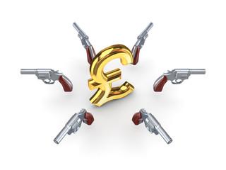 Chromed revolvers around dollar sign.