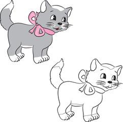 Coloring book. A cute cartoon cat. Vector illustration