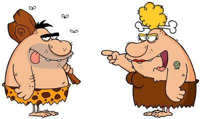 Caveman And Angry Cavewoman Cartoon Characters