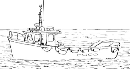 Hand sketched drawing of a fishing boat