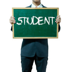 Business man holding blackboard on the background , Student