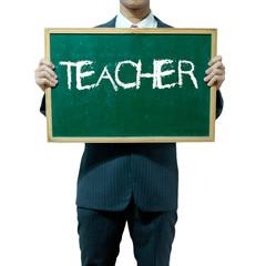 Business man holding blackboard on the background , Teacher