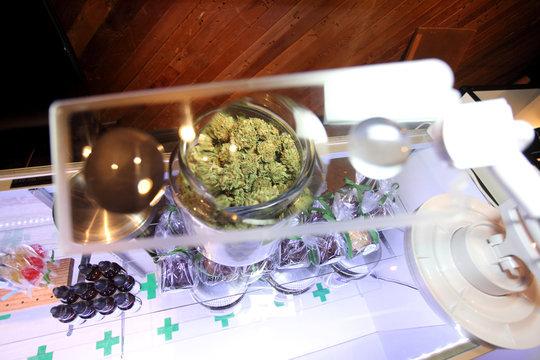 Marijuana viewed through a magnifying glass