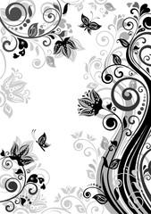 Vintage floral banner (black and white)