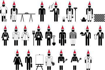 Workers with Santa's Hat