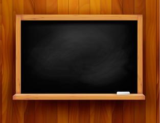 Blackboard on wooden background. Vector.