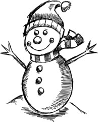 Cute Holiday Winter sketch Snowman