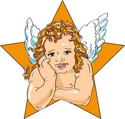 Engel mit Stern Illustration