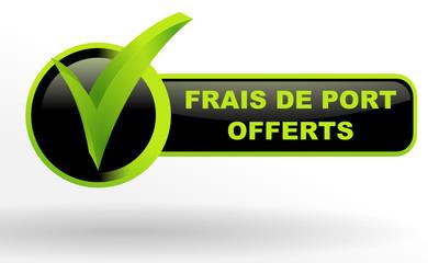 Fototapete - frais de port offerts sur bouton validé vert et noir