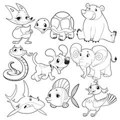 Set of animals in black and white. Vector characters.