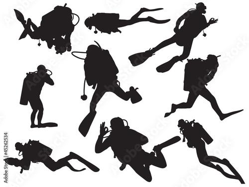 Wall mural vector scuba diving silhouette
