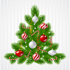 Merry Christmas vector background with tree and glossy balls.