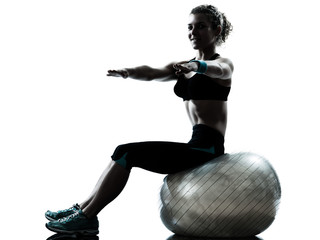 Wall Mural - woman exercising fitness ball workout