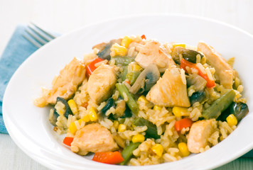 Chicken Breast with Vegetables, Mushrooms and Rice