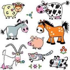 set with cartoon farm animals