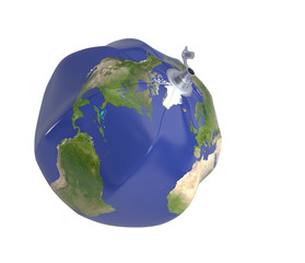 Deflated beach ball with Earth map. Save the Earth concept