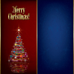 Christmas grunge greeting with tree and decorations