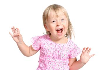 amazed little girl laugting ang singing expressively isolated ov