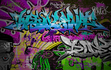 Foto auf Leinwand Graffiti Graffiti wall urban art background