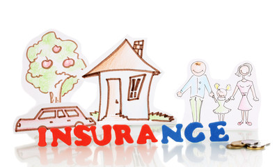 concept of home insurance isolated on white
