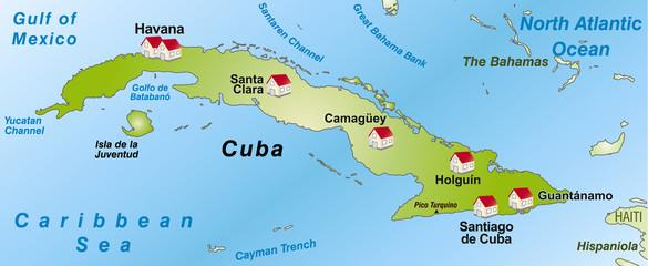 Karte von Kuba als Infografik