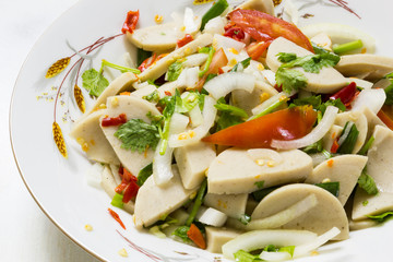 Fermented pork in spicy sauce salad