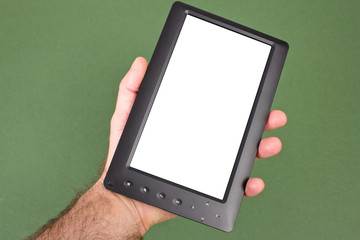 electronic book is in a masculine hand