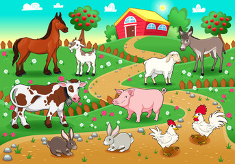 Poster Ranch Farm animals with background. Vector illustration