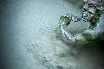 Fotobehang Fontaine Statue, fontaine, Girondins, monument, Bordeaux, eau