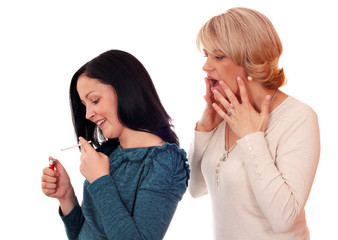 shocked mother finds out that her daughter smokes